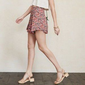 Reformation Red Floral Print Flounce Skirt Size 8